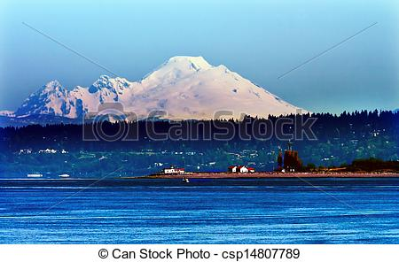 Pictures of Mount Baker Puget Sound Snow Mountain Lighthouse.
