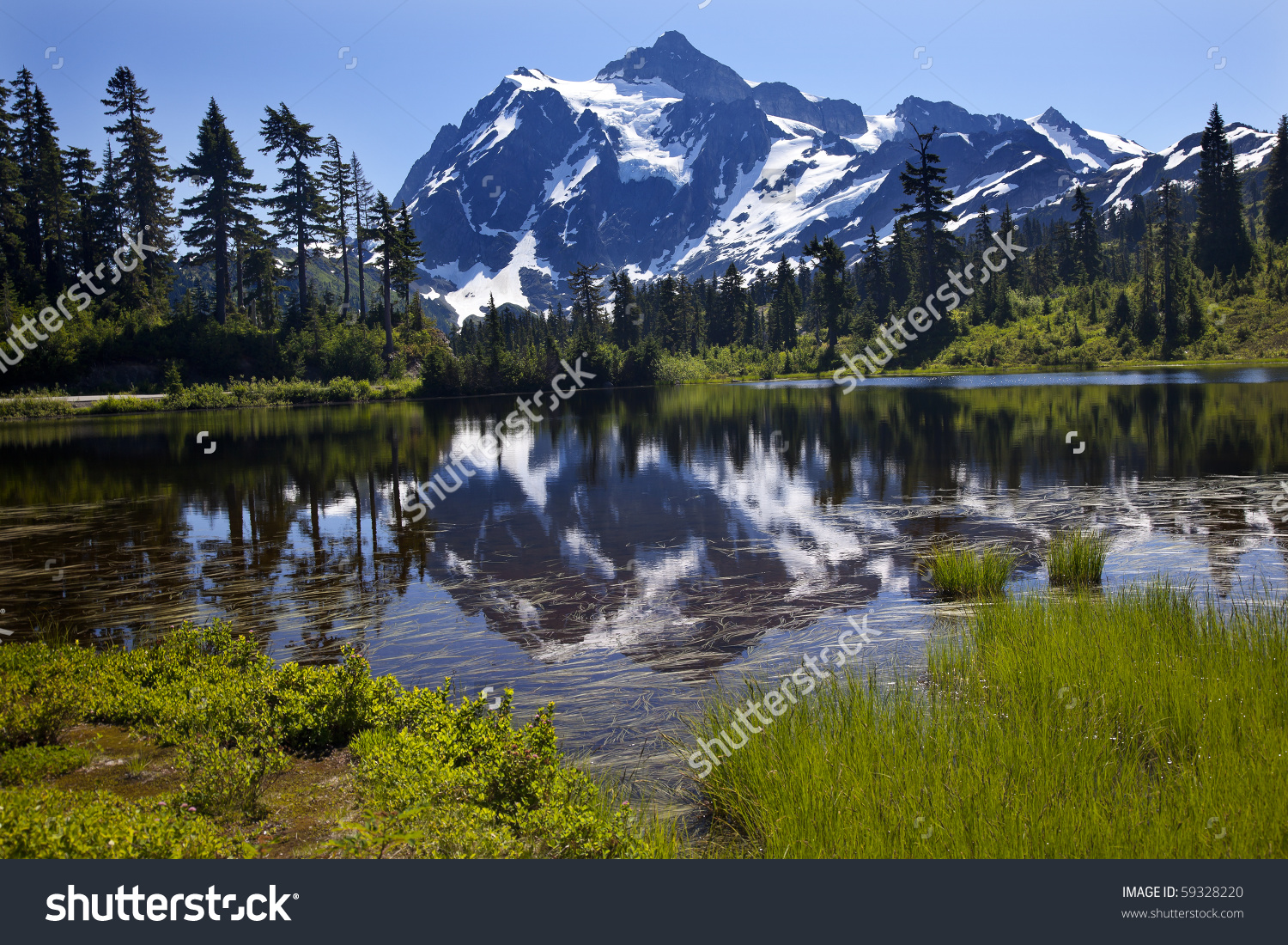 Reflection Lake Mount Shuksan Mount Baker Stock Photo 59328220.
