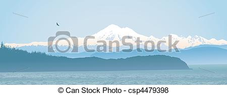 Vector of Mount Baker, Washington State panoramic.