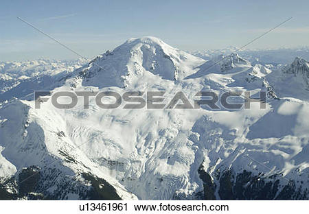 Stock Photography of Aerial photo of a dormant snowcapped volcano.