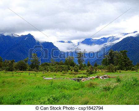 Stock Photo of Low clouds covering Mount Cook and Mount Tasman.