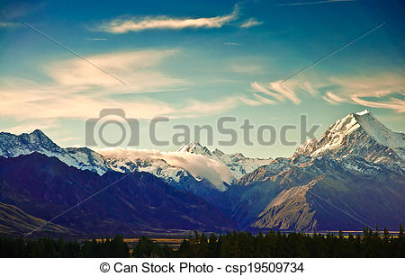Stock Photos of New Zealand scenic mountain landscape shot at.