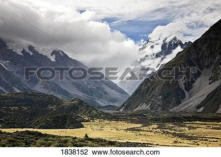 Stock Photo of Mount Cook Range, New Zealand; low lying clouds in.