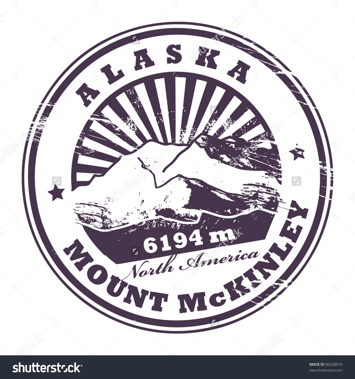 Grunge Rubber Stamp Mount Mckinley Highest Stock Vector 96528676.