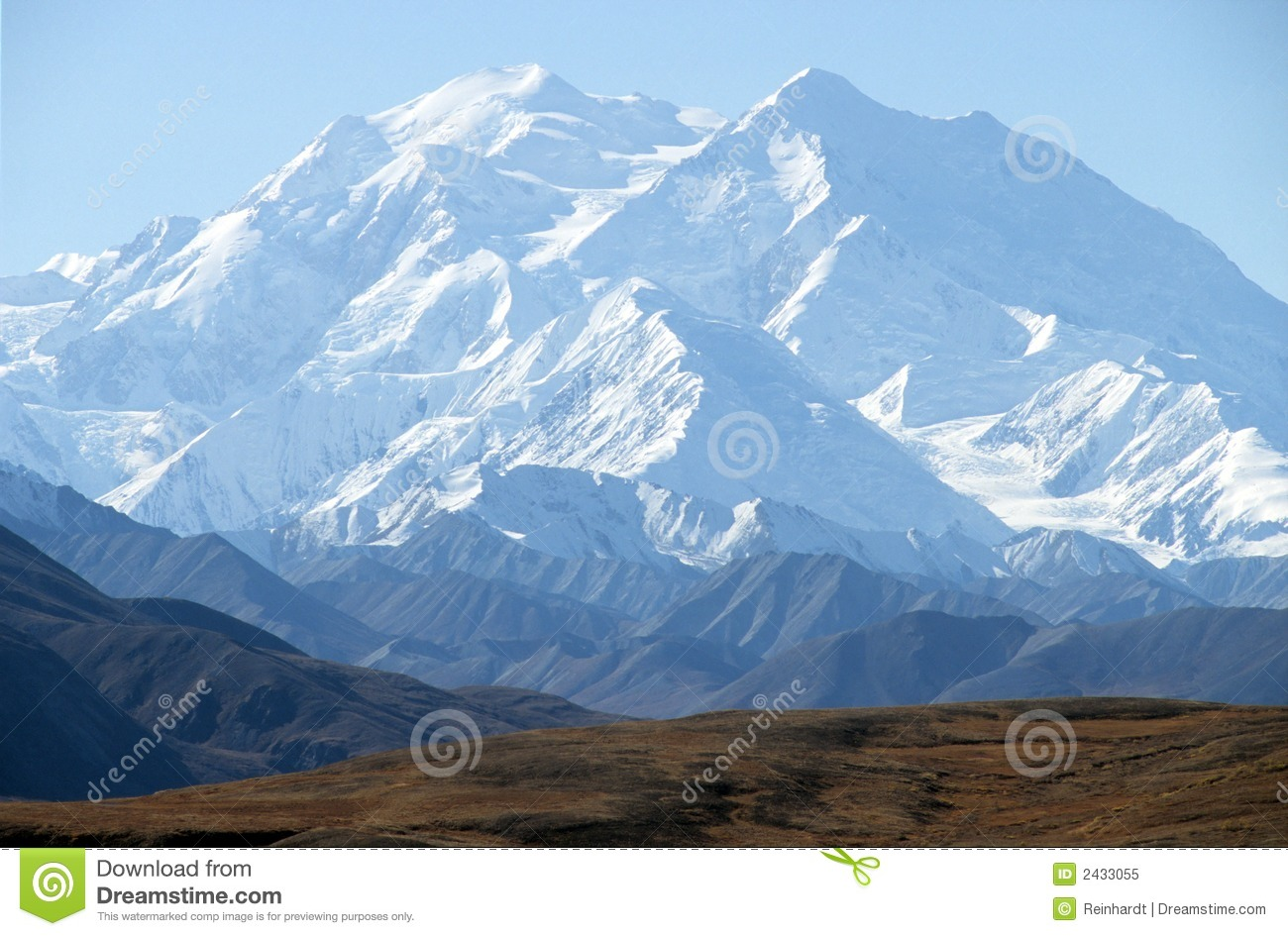 Mount McKinley Peak And US Flag, Alaska, US Royalty Free Stock.