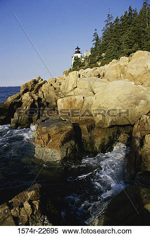 Stock Image of Lighthouse on a cliff, Bass Head Lighthouse, Mount.