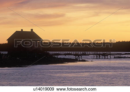 Stock Photograph of Lobster fishing village at sunset, Mount.
