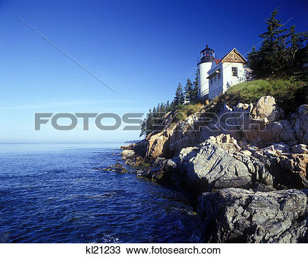 Stock Photo of Bar Harbor Head Light Mount Desert Island Me.