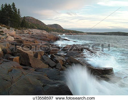 Picture of Acadia National Park, ME, Maine, Atlantic Ocean, Mount.