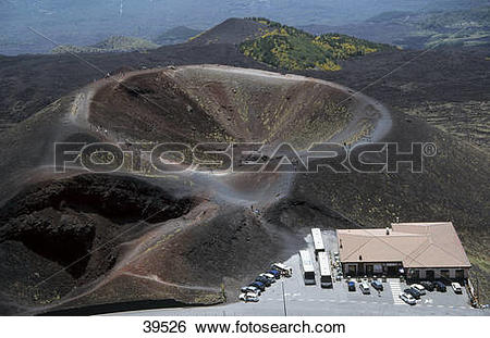 Stock Images of Aerial view of volcanic mountain, Rifugio Sapienza.