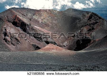 Stock Images of Crater in Mount Etna k21560656.
