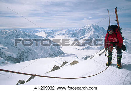 Stock Photo of Climber and Mount Foraker. Denali National Park.