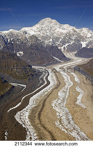 Stock Photo of Aerial Panaorama Of Mount Mckinley(R), Mount Hunter.