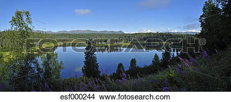 Stock Photo of USA, Alaska, View of Mount Mckinley, Mount Hunter.