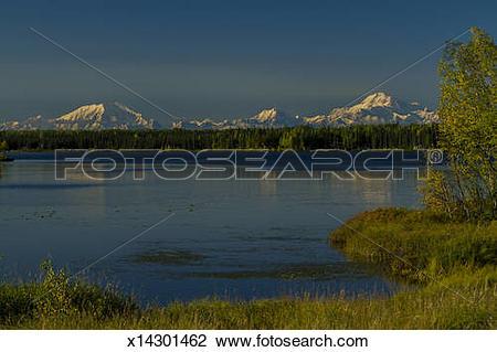 Stock Photo of Mt Mckinley, Mt Hunter, Mt Foraker x14301462.