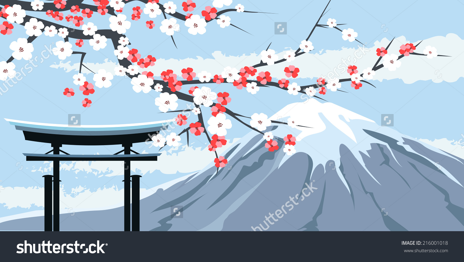 Graphic Illustration Mount Fuji Cherry Blossoms Stock Vector.