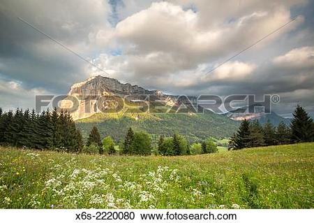 Stock Photography of Mont Granier at sunset, Natural Parc of La.