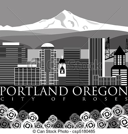 Stock Illustrations of Portland Downtown Skyline with Mount Hood.