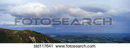 Stock Photography of View over the Canterbury Plain from Mount.