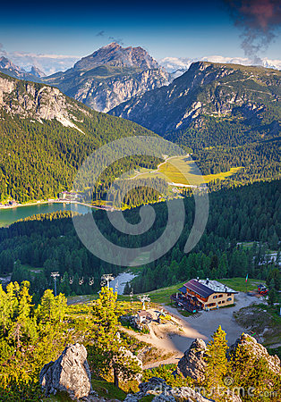 Dolomites Mountain Summer Sunshine View Stock Photo.