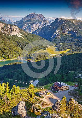 Dolomites Mountain Summer Sunshine View Stock Photo.