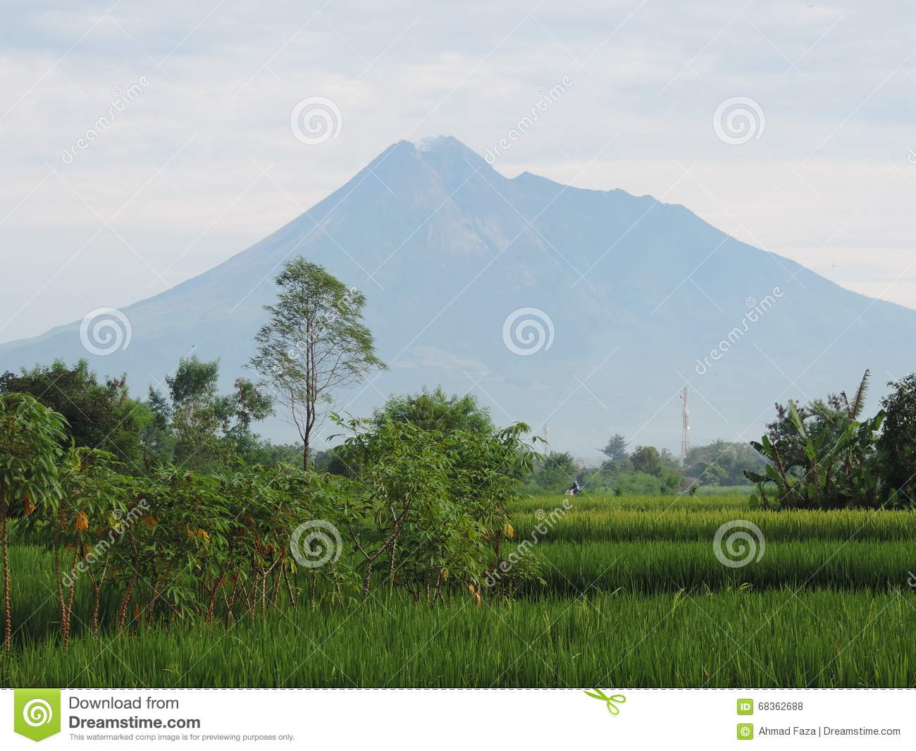 Mount Merapi Indonesia 9 March 2016 Stock Photo.