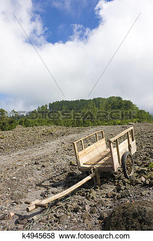 Pictures of Empty Grass Cart at Mount Merapi, Indonesia k4945658.