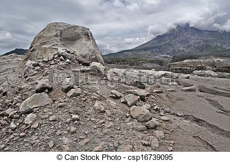 Stock Photographs of Volcanic Boulder and Mt. Merapi.