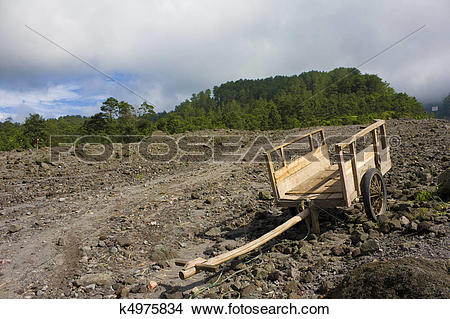 Stock Photo of Empty Grass Cart at Mount Merapi, Indonesia.