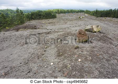 Stock Photo of Mount Merapi Lava Plateau, Indonesia.