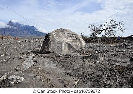 Picture of Boulder and Mt. Merapi Background.