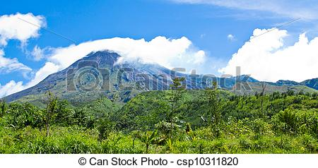 Stock Photo of Mt Merapi landscape.