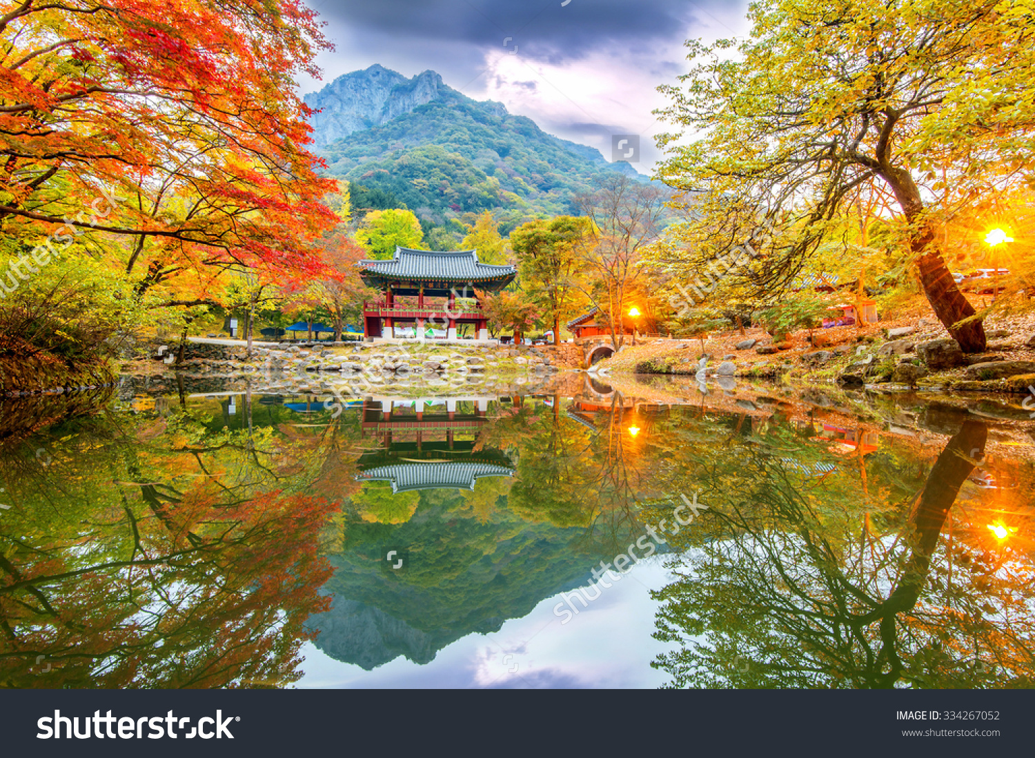 Baekyangsa Temple Autumnnaejangsan Park Korea Stock Photo.
