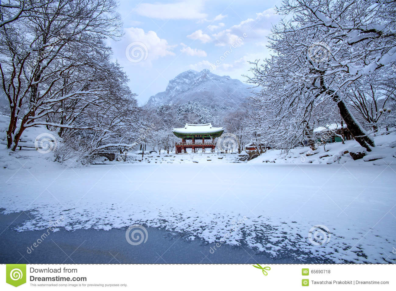 Baekyangsa Temple And Falling Snow, Naejangsan Mountain In Winter.