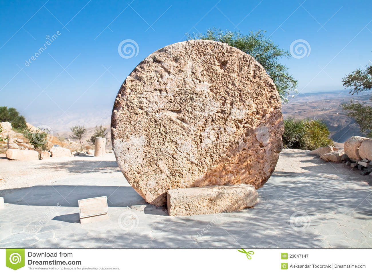 Monastery Rolling Stone Door ,Mount Nebo, Jordan Royalty Free.