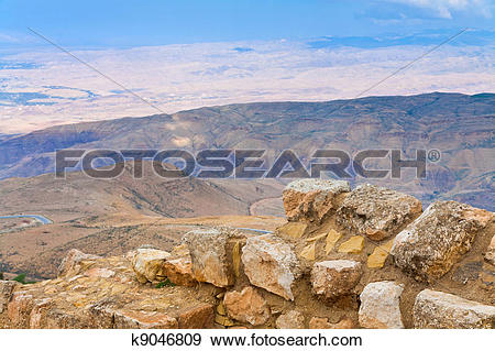 Stock Photograph of view from Mount Nebo in Jordan k9046809.