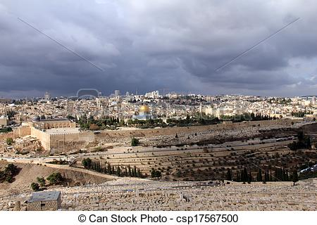 Stock Photography of Landscape from Mount Olives at the winter day.