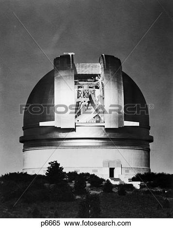 Stock Image of 1960S Moonlight View Of Palomar Observatory With.