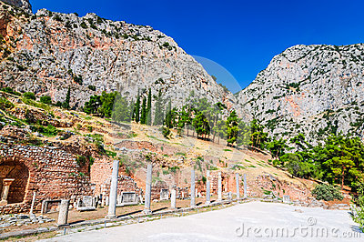 Mount Parnassus, Greece Stock Illustration.