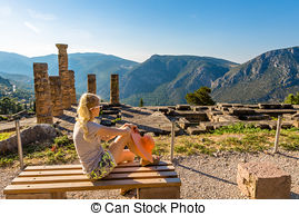 Stock Images of delphi oracle Greece.