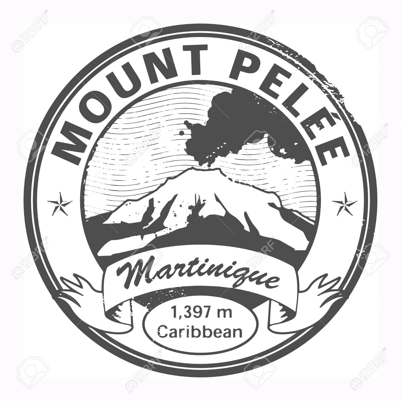 Grunge Black Stamp With Words Mount Pelee, Martinique Royalty Free.