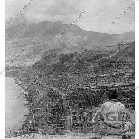 Picture of the Eruption of Mont Pelee, Martinique in Ruins.