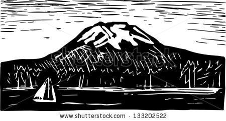 Vector Illustration Mount Rainier Stock Vector 133202555.
