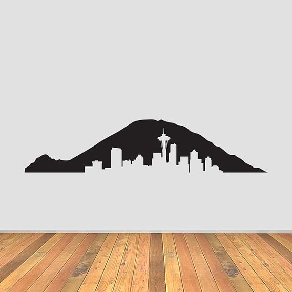 Mt Rainier Seattle Skyline Vinyl Decal by CurrentCutsVinyl on Etsy.