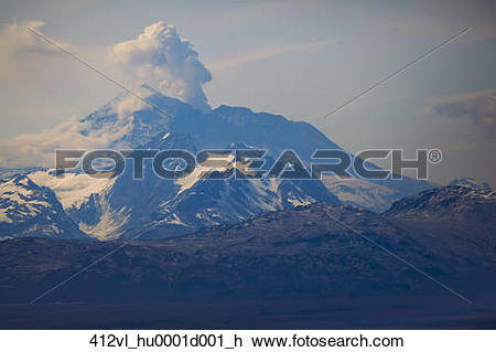 Stock Photo of Aerial view of a minor eruption from Mount Redoubt.