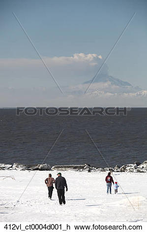 Stock Photo of People watch an ash cloud from minor eruption of Mt.