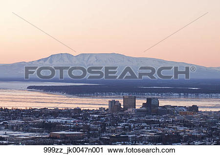 Stock Photography of Aerial view of the downtown Anchorage skyline.