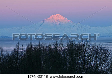 Pictures of Sea in front of a volcanic mountain, Mount Redoubt.