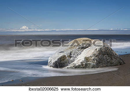 "Stock Image of ""Surf on the beach of Kenai on the Kenai Peninsula."