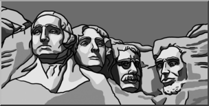 Clip Art: Mt. Rushmore Grayscale I abcteach.com.